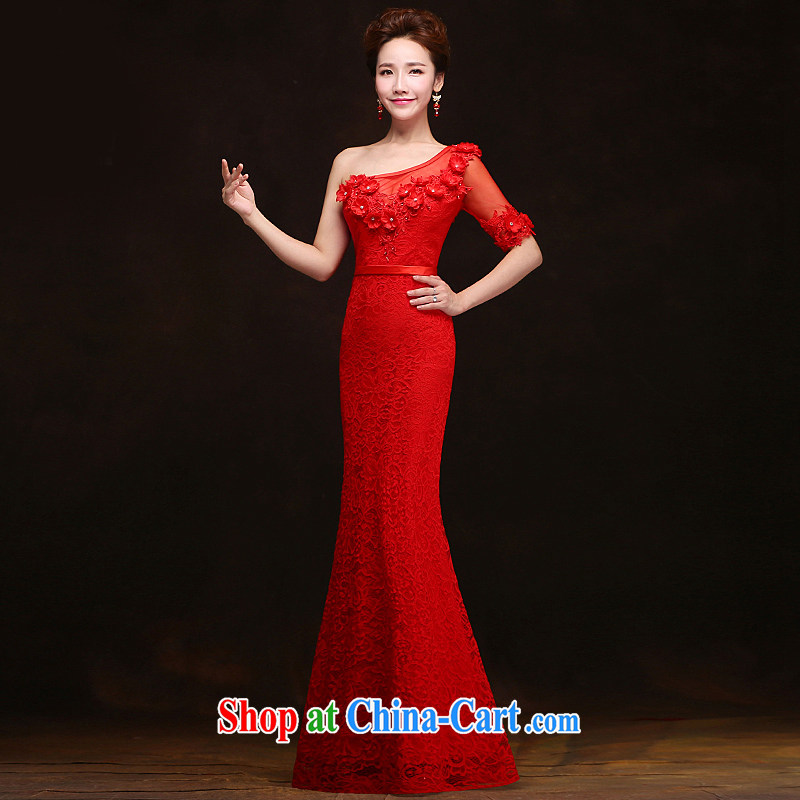 Love spell Fort spring 2015 New Red bridal wedding wedding dresses the shoulder cuff in Korean Beauty crowsfoot toast serving red XXL (93/77.