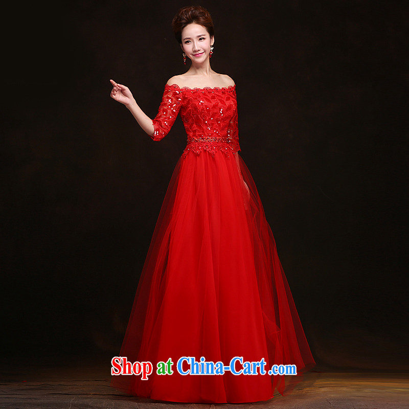 Love spell Fort spring 2015 new marriages red dress a field shoulder A tied up with a Korean version lace, bows serving red XXL _93_77.