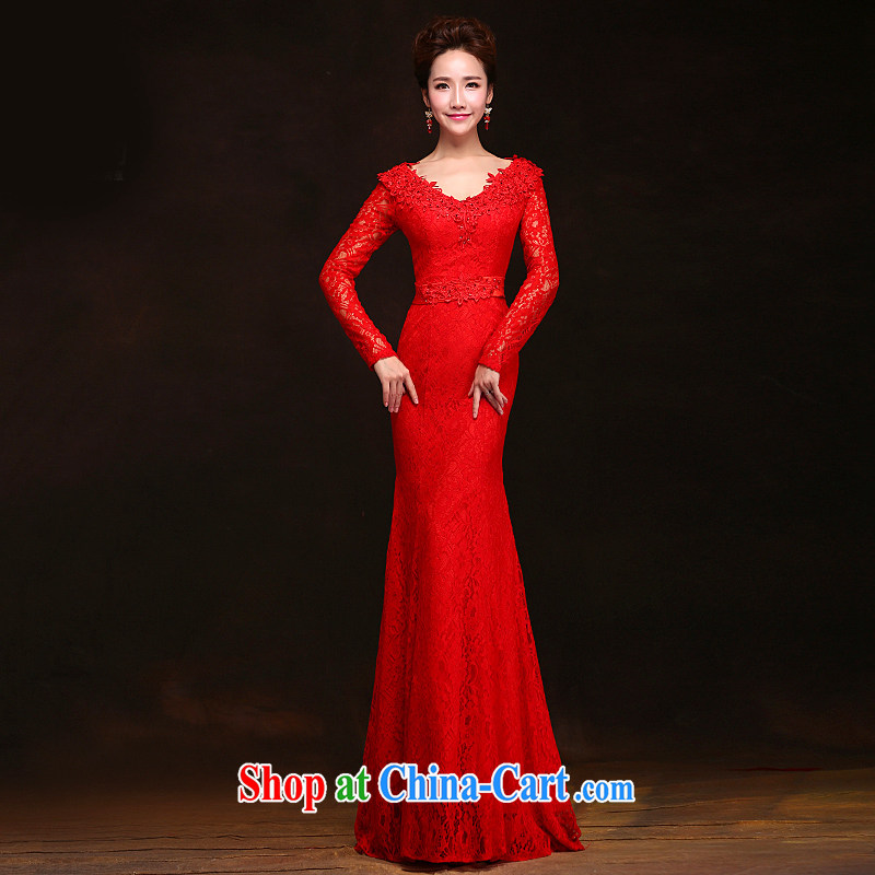 Love spell Fort 2015 new spring wedding wedding dresses at Merlion field shoulder long-sleeved tie-Korean dress uniform toast red XXL _93_77.