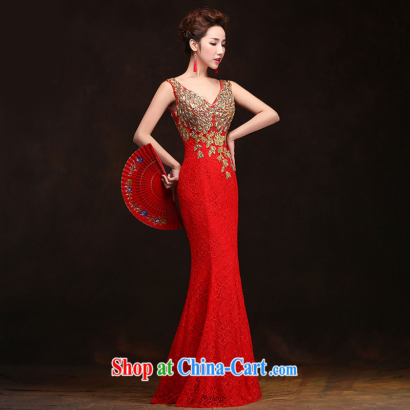 Love spell Fort spring 2015 new Korean Beauty serving toast long bridal crowsfoot double-shoulder lace stylish wedding dress red XXL (93 / 77)
