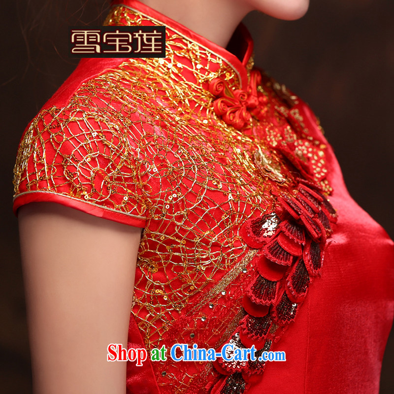 Snow Lotus bridal toast clothing wedding dress summer new bride marriage improved cheongsam dress upscale three-dimensional embroidery cheongsam red retro wedding toast serving red XL