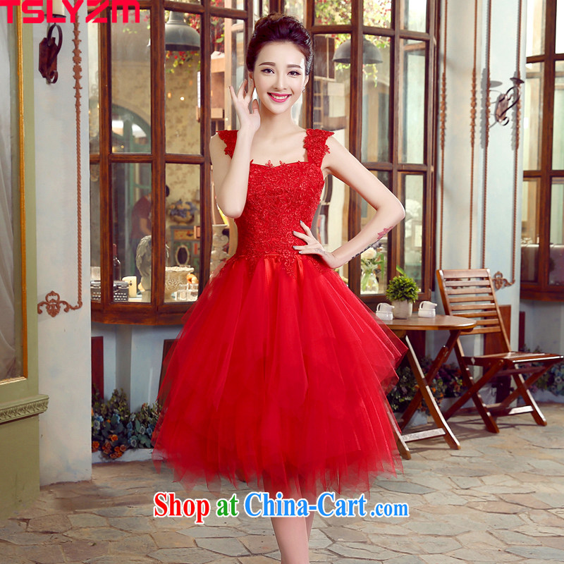 Tslyzm bride toast wedding dress double shoulder strap with small wedding dress short Web yarn shaggy dress red 2015 spring and summer performances serving female Red XL