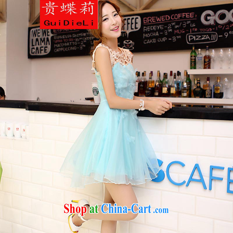 The butterfly Li 2015 new Korean lace European root dress shaggy dress Princess dress sleeveless bridesmaid dress the dress blue lake S