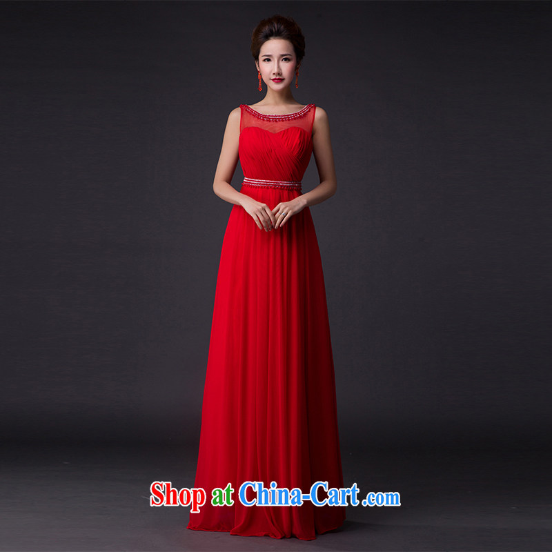 Hi Ka-hi 2015 new bows dress light drill Pearl double-shoulder dress V for the Annual Dinner Show dress skirt P 005 red left size tailored