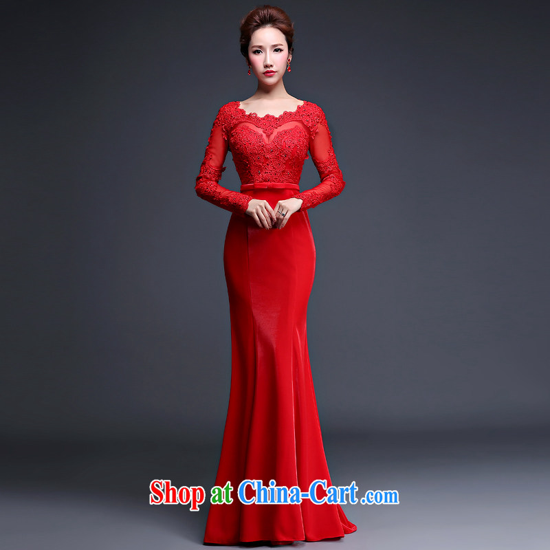 Top Chinese Red Romantic Wedding Bridal Evening Dress for Brides