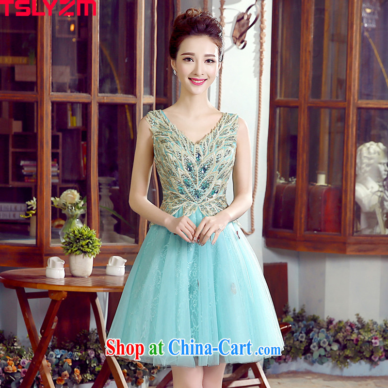 Tslyzm bridal wedding toast marriage serving the wedding dress short dress photo building theme clothing wedding photography moderator female performance service personal photo album light blue XXL
