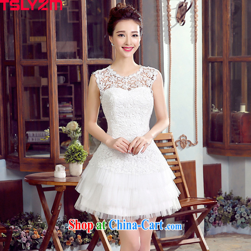 Tslyzm bridal toast clothing wedding dress bridesmaid serving short language empty water-soluble lace cultivating the lumbar shaggy skirts 2015 spring and summer new white XXL