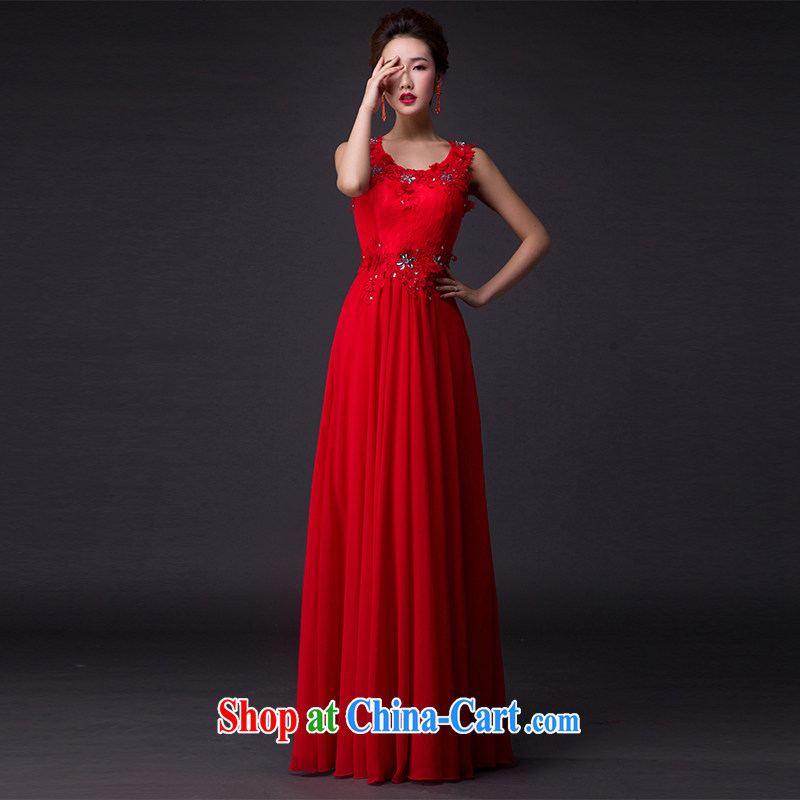 Hi Ka-hi 2015 New Red bows dress light drill double-shoulder dress the Annual Dinner Show dress skirt P 003 red XXL