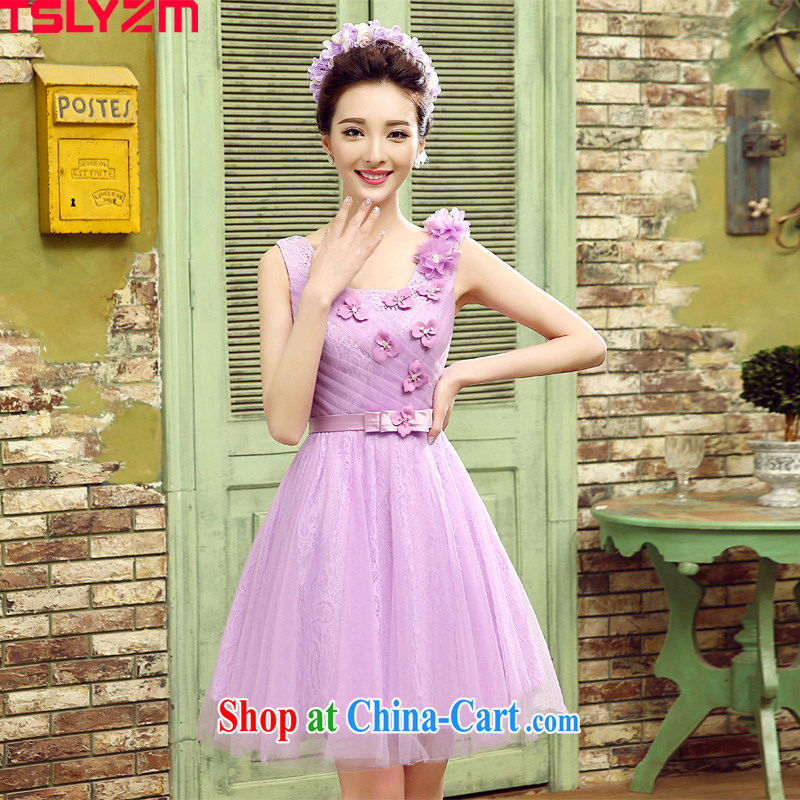 Tslyzm bridesmaid dresses in dresses short, short-long after the lumbar 2015 spring and summer new sister party Evening Dress uniforms moderator service female E XL paragraph