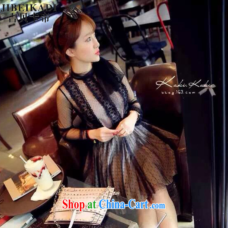 Spring 2015 New Name-yuan bowtie sexy 100 ground lace shirt straps body skirt black M