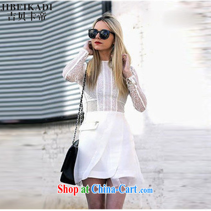 three floor 2014 new European high-end lace dress long-sleeved Openwork white L
