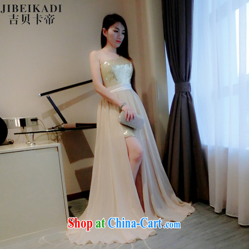 Real-time concept in summer 2015, annual high-waist and resort on the truck large dresses dress dress apricot M