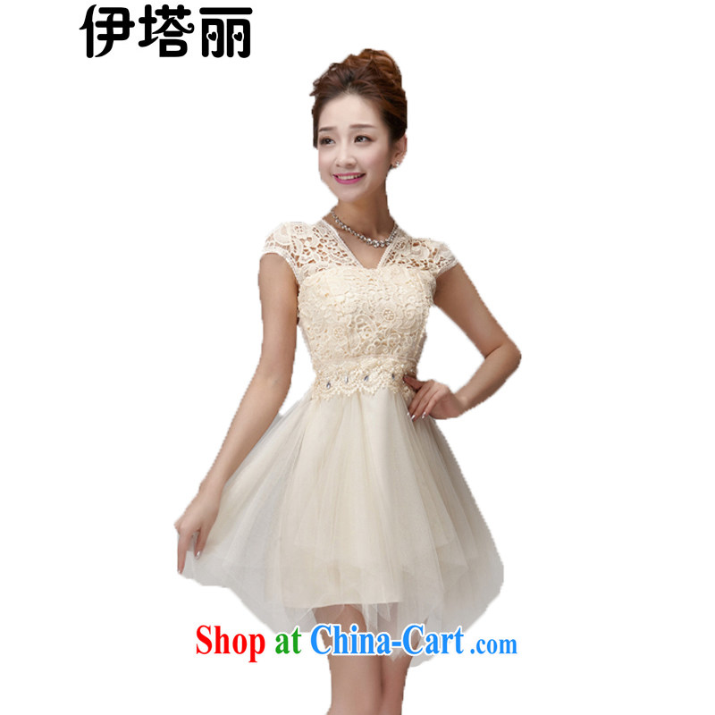 The Lai 2015 summer new Korean version lace hook spent manually staple-ju of Yuan shaggy dress style dress skirt sister's bridesmaid dress 965 champagne color code