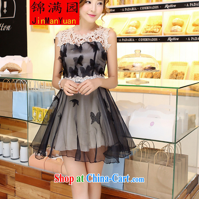 kam full 2015 new Korean lace European root dress shaggy dress Princess dress sleeveless bridesmaid dresses small black dress XL