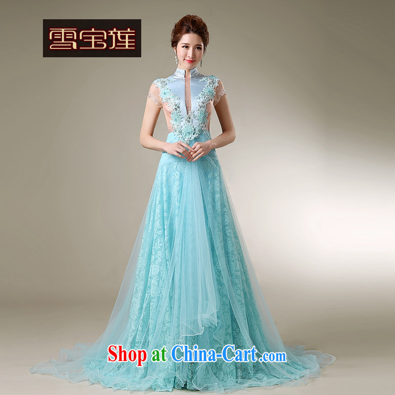 Snow Lotus bridal toast serving Korean brides beauty-tail bows dress classic wood drill set for blue lace bridesmaid dress only the tail dress blue L