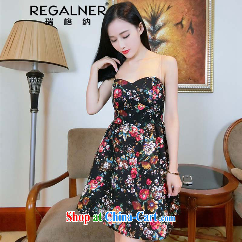 Ryan, the 2015 summer new sexy night dress floral wiped his chest dress skirt solid short skirts night dress picture color L