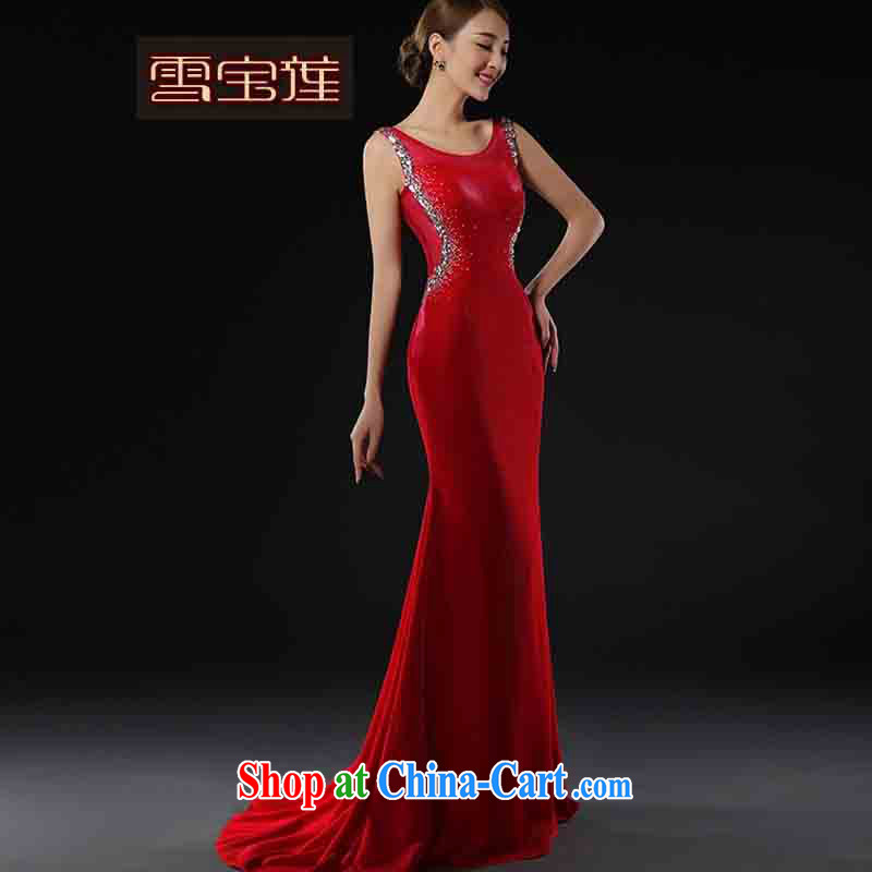 Snow Lotus bridal toast clothing red cheongsam dress long red wedding dress plain manual cultivating original innovation Madame toast clothing bridesmaid dress red XL