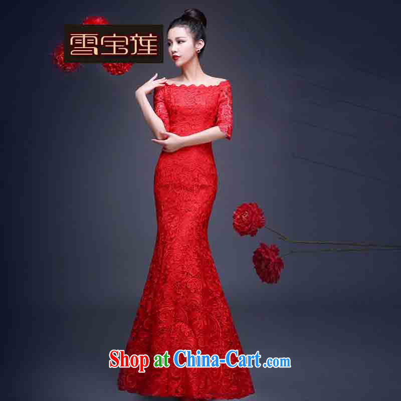 Snow Lotus bridal dresses serving toast red water-soluble lace dress a Field shoulder bows. Cultivating crowsfoot bridal toast in serving long-sleeved dress red long XL