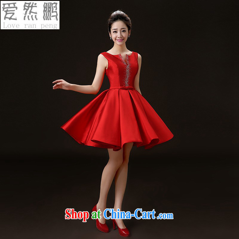 Love so Peng 2015 new spring/summer wedding dresses bridal toast clothing stylish beauty crowsfoot red wedding dress short red S