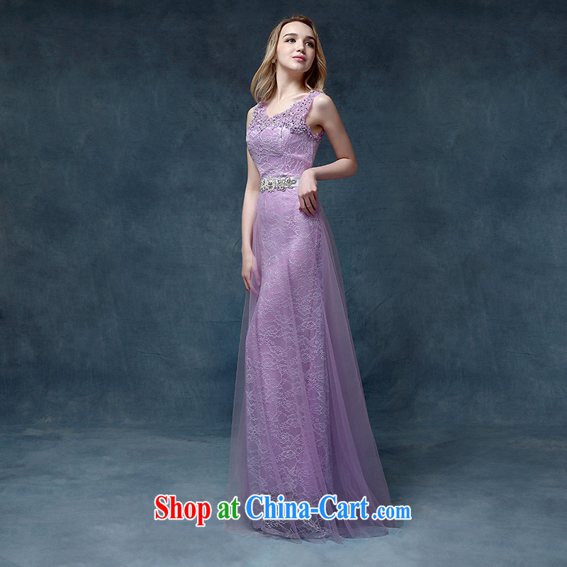 According to Lin Sa 2015 new marriages served toast long dual-shoulder lace purple bridesmaid dress Evening Dress picture color tailored advisory service