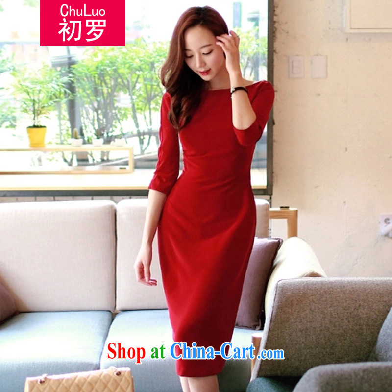 First, Korean edition 2015 summer new female fashion style beauty graphics thin package and more relaxed the dress girls dresses red L