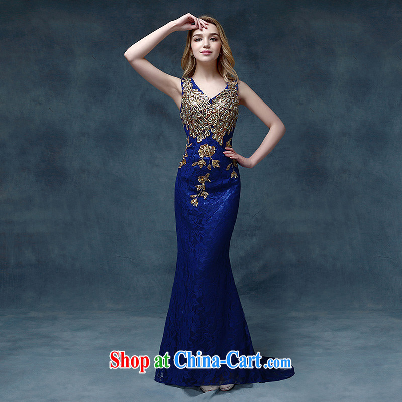 According to Lin Sha Evening Dress 2015 new wedding dress shoulders toast service bridal gown crowsfoot cultivating tail bows serving blue S