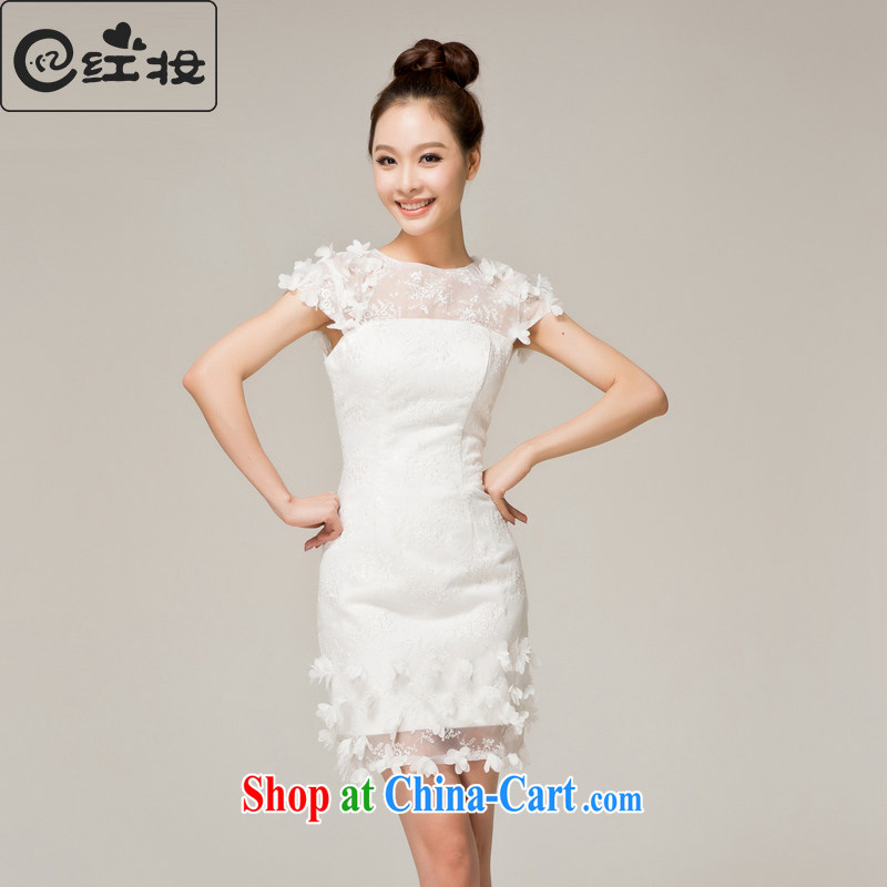 Recall that the red makeup white lace bridesmaid dress short, stylish beauty moderator dinner service sister skirt small dress L 12,120 white XL