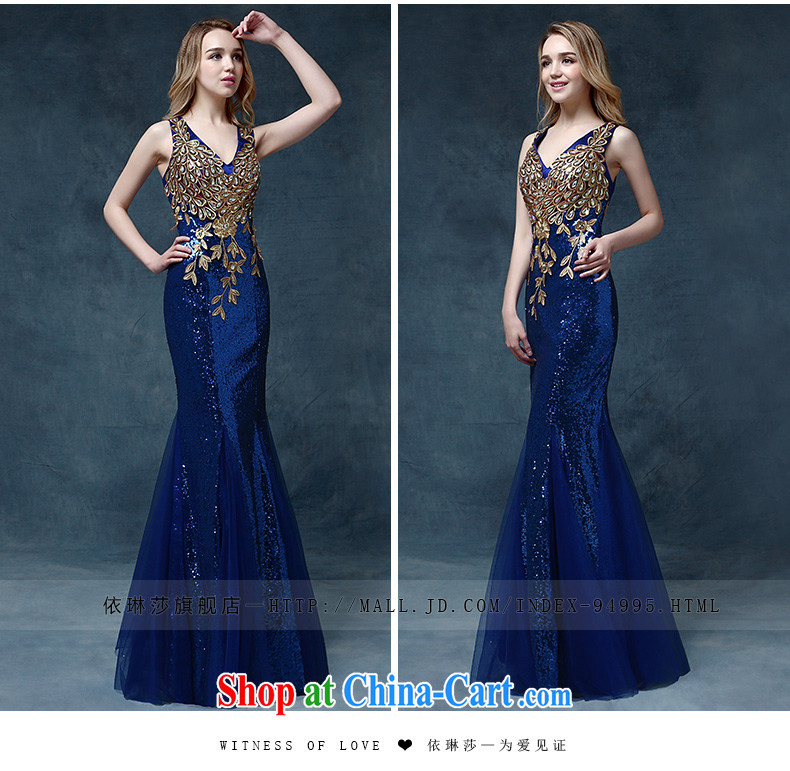 According to Lin Sha Evening Dress 2015 new wedding dress shoulders toast service bridal gown crowsfoot cultivating bows dress long blue XL pictures, price, brand platters! Elections are good character, the national distribution, so why buy now enjoy more preferential! Health