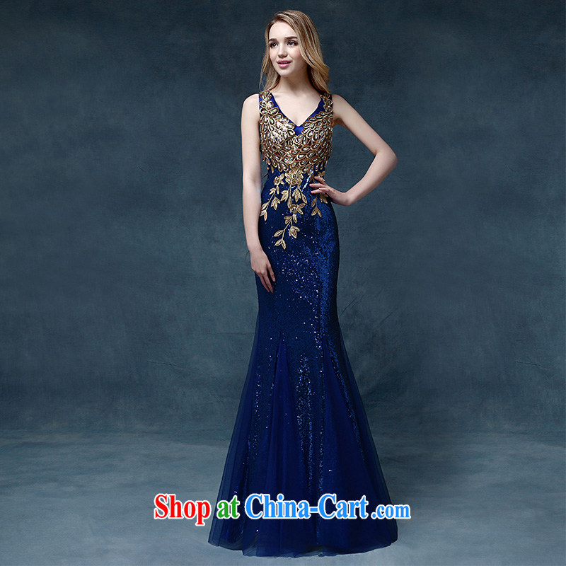 According to Lin Sha Evening Dress 2015 new wedding dress shoulders toast service bridal gown crowsfoot cultivating bows dress long blue XL