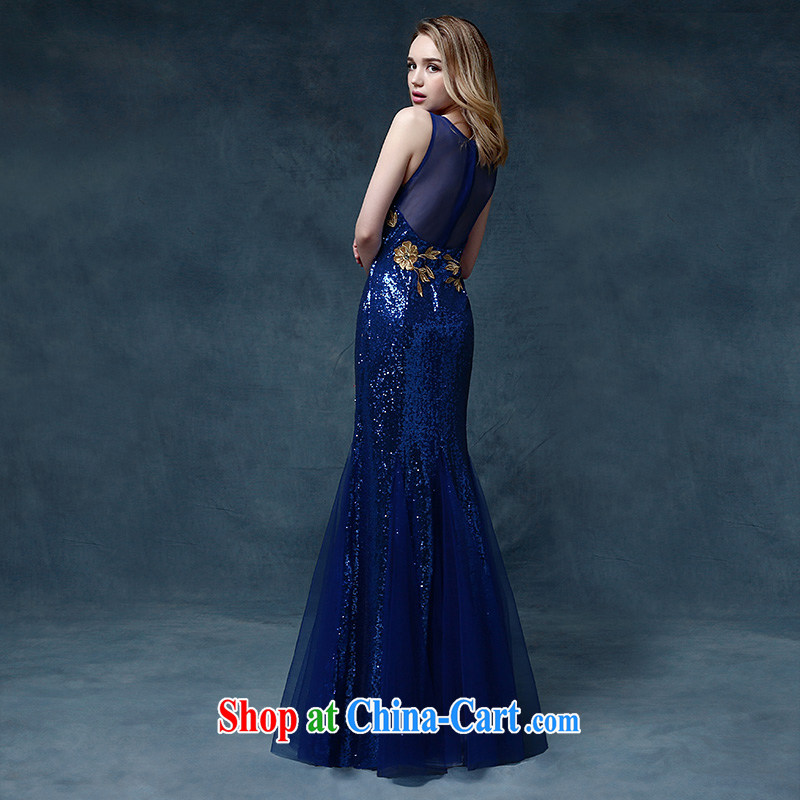 According to Lin Sha Evening Dress 2015 new wedding dress shoulders toast service bridal gown crowsfoot cultivating bows dress long blue XL, according to Lin, Elizabeth, and shopping on the Internet