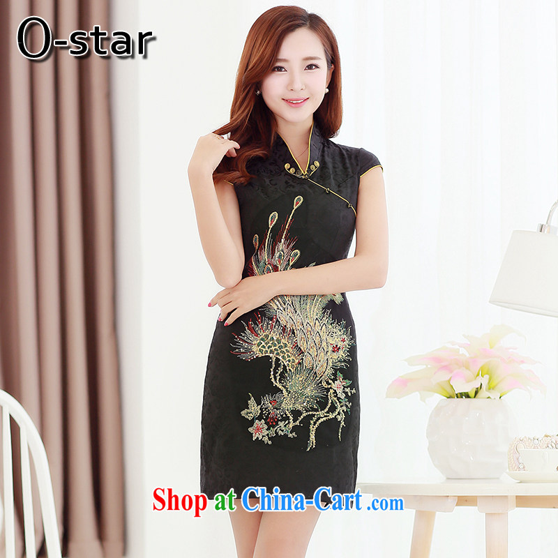 O - Star 2015 new wedding dresses summer short Chinese wedding improved stylish bridal toast clothing beauty graphics thin dresses black XXL