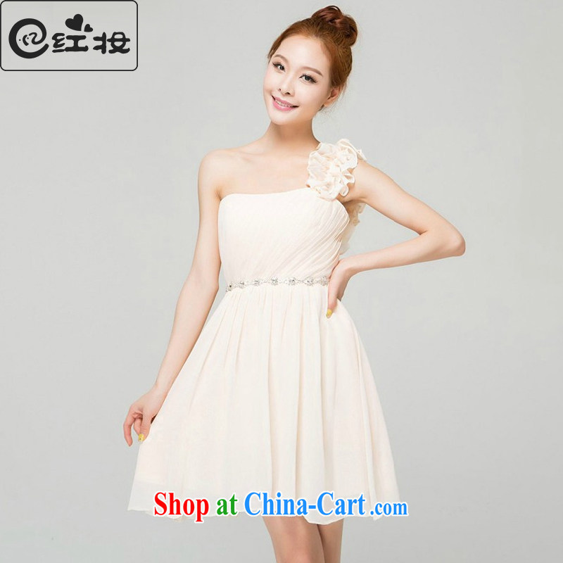 Recall that the red makeup and stylish bridesmaid dresses short dresses small sister dress spring and summer banquet moderator Tuxedo female L 13,768 champagne color XL