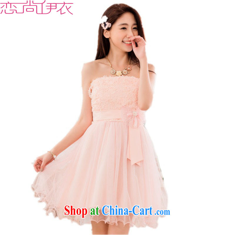 The package-XL small dress 2015 new summer sweet shaggy Princess Mary Magdalene skirt Chest dinner dress bridesmaid wedding dress skirt pink 3XL approximately 165 - 185 jack