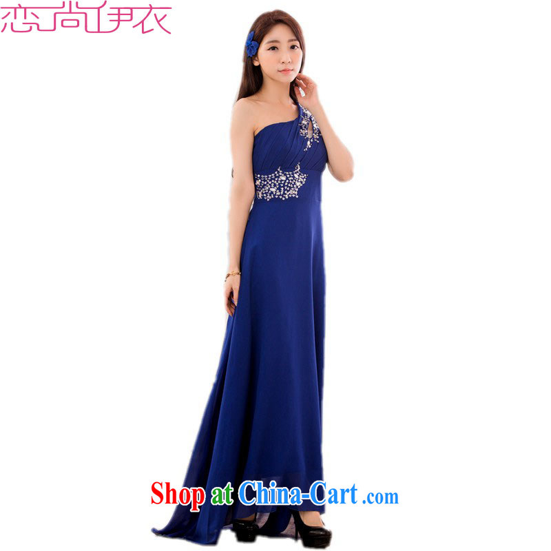 The e-mail package and code name Yuan long skirt and dress with elegant goddess style wood drill the shoulder ceremonial hosted dress dress straps dress blue 3 XL approximately 165 - 185 jack