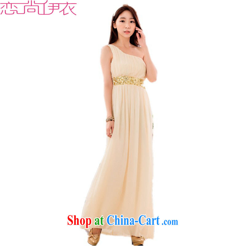 The package mail XL stylish long skirt dress New Name-yuan Greek style graphics thin ice woven dresses thick mm ramp shoulder hosted ceremony dress champagne color 3 XL approximately 165 - 185 jack