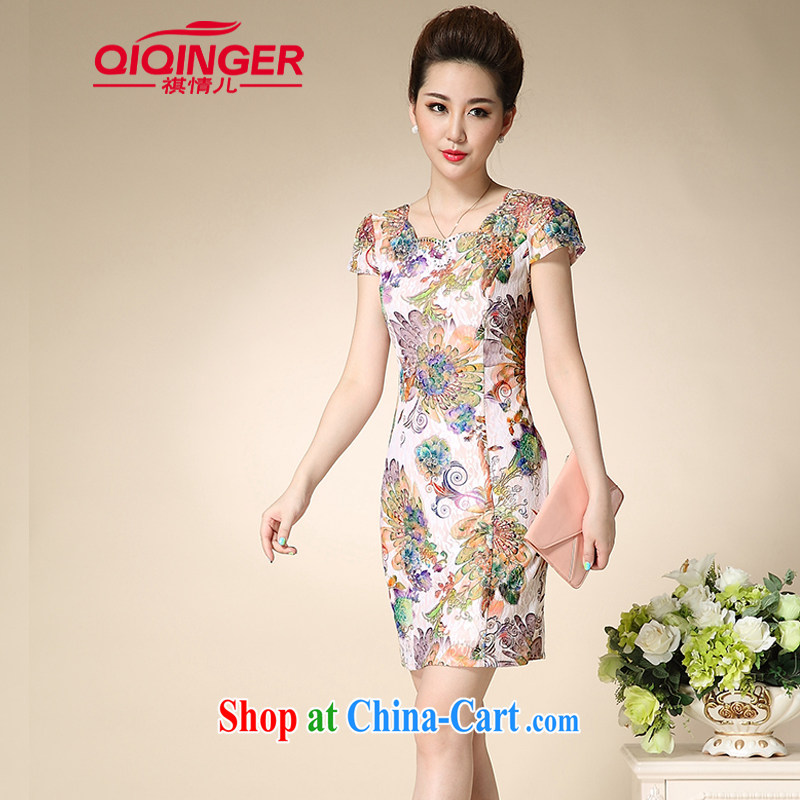 Sincerely, child care 2015 lace cheongsam dress retro elegant qipao dress Bong-tail flowers XXL
