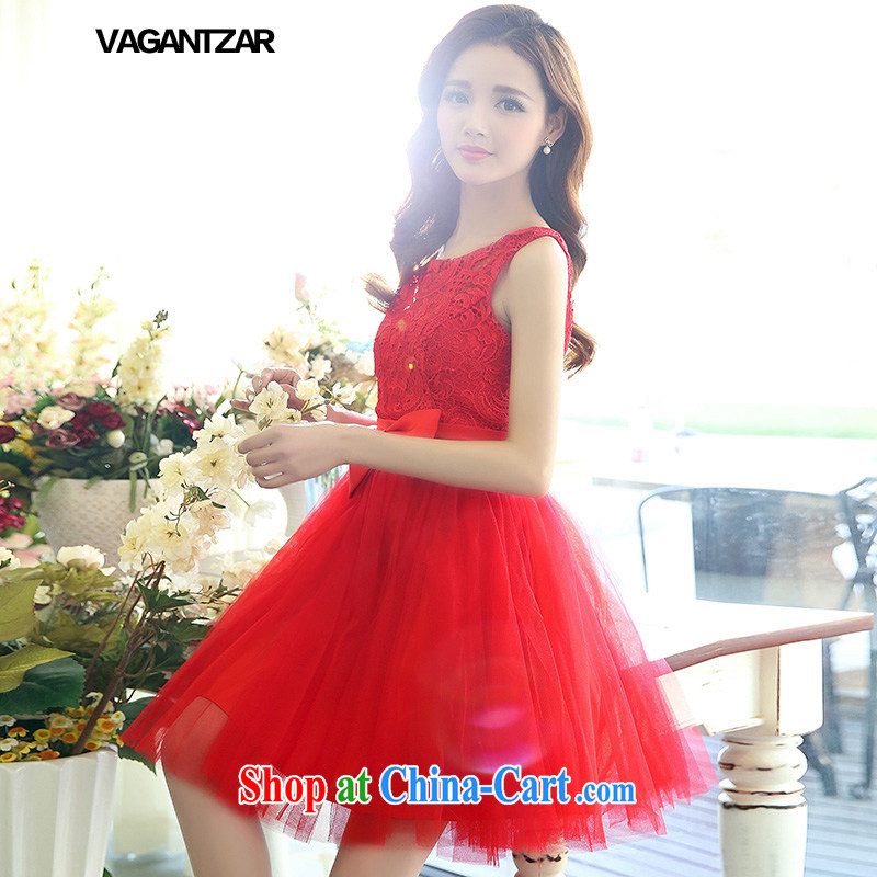 VAGANTZAR small dress wedding bridesmaid dress bridal dresses serving toast wedding dresses 1521 red XL