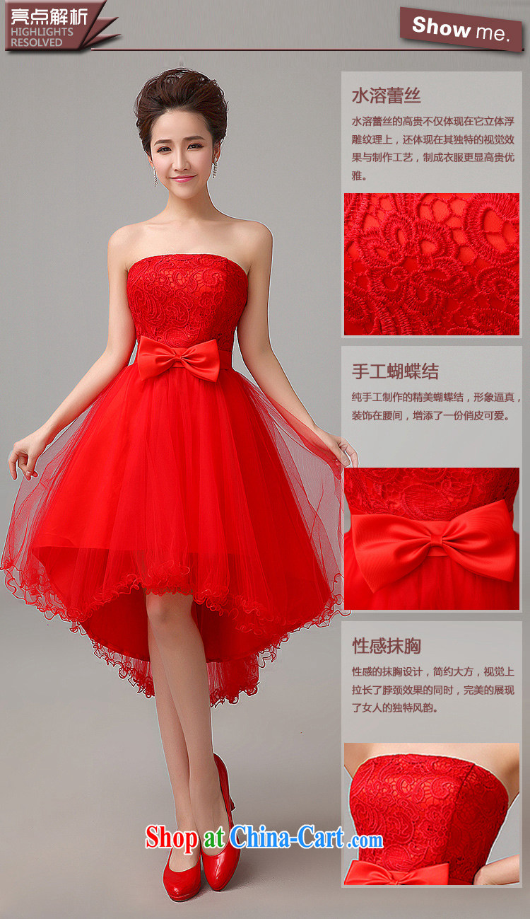 Time His 2017 Spring And Summer New Stylish Retro Red Wedding Short Before Long Small