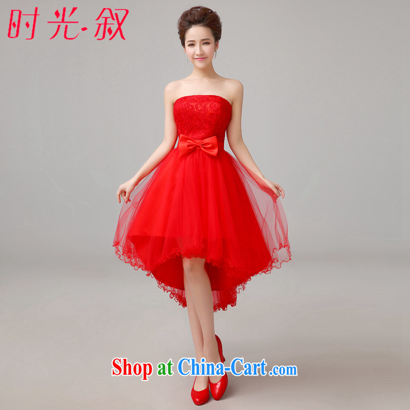 Time his 2015 spring and summer new stylish retro red wedding dresses short before long small tail dress bridal wedding toast wiped his chest small dresses at night red S