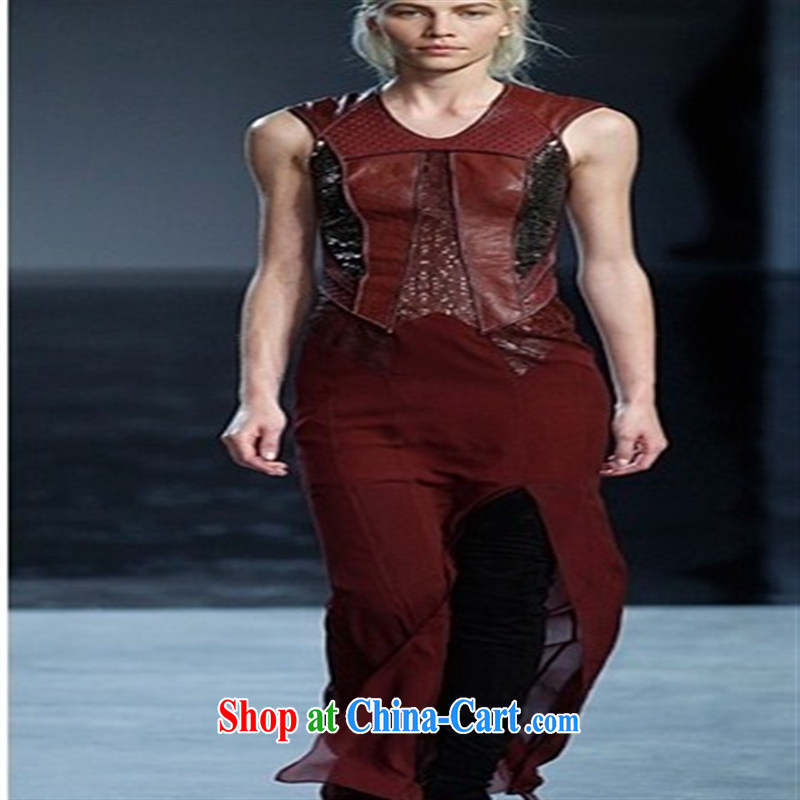 Qin Qing store 2015 PU leather stitching snow spinning rock sense of softness wine red dresses spring dresses skirts wine red UK 16