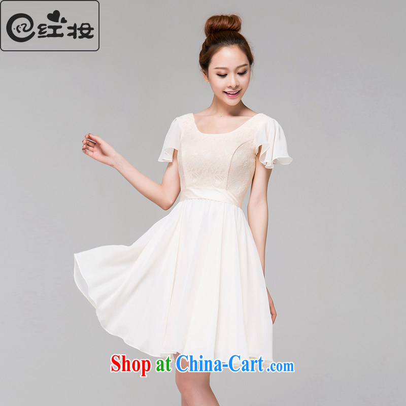 Recall that the red makeup bridesmaid serving double-shoulder cuff new short, champagne color lace short-sleeved U-collar bows service dress L 13,805 champagne color XL