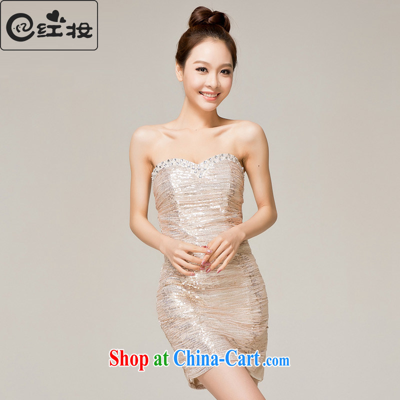 Recall that the red makeup bridesmaid clothing graphics thin short toast dinner dress stylish erase chest moderator show dress L 12,154 gold XL
