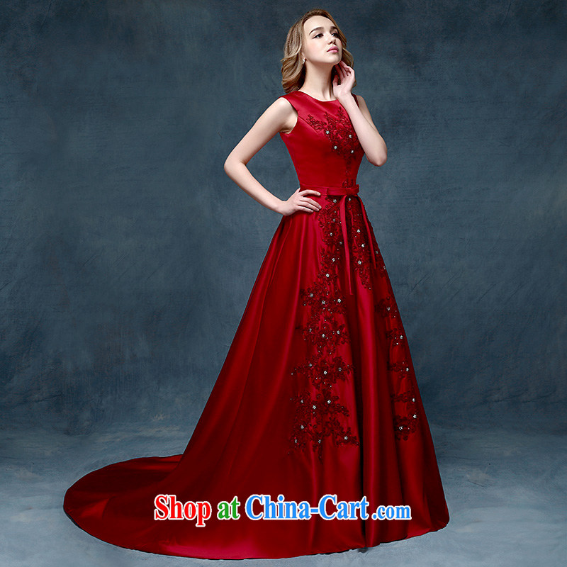 According to Lin Elizabeth 2015 stylish new wine red dress dress long, cultivating Evening Dress crowsfoot marriage evening dress bridal toast serving wine red are code