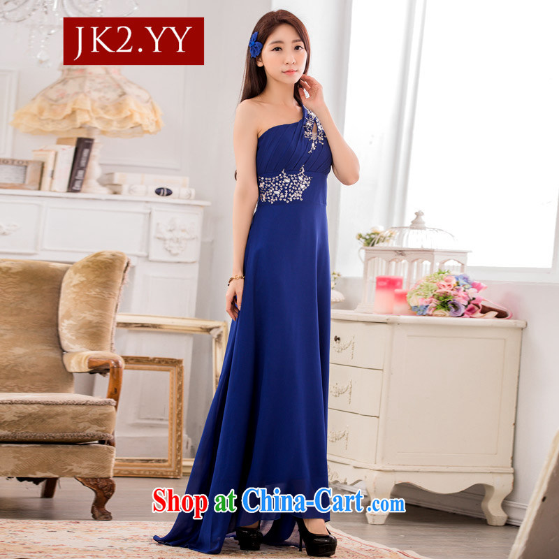 JK 2 high-end dinner show the dress stylish single shoulder manually staple snow Pearl woven long evening dress blue XXXL