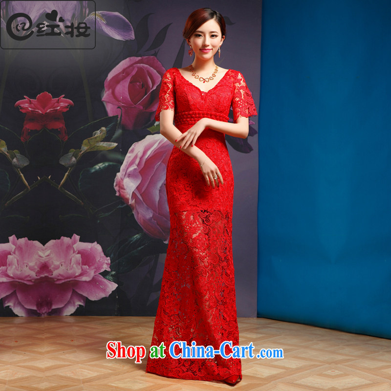 Recall that the red makeup serving toast red long marriages V collar lace short sleeve dress dress 2015 new L 13,881 red XL
