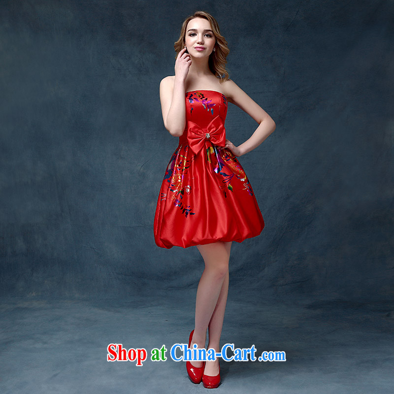 Evening Dress short 2015 new wedding dresses red bows Service Bridal Fashion long betrothal banquet short bridesmaid clothing red XL, according to Lin, Elizabeth, and shopping on the Internet