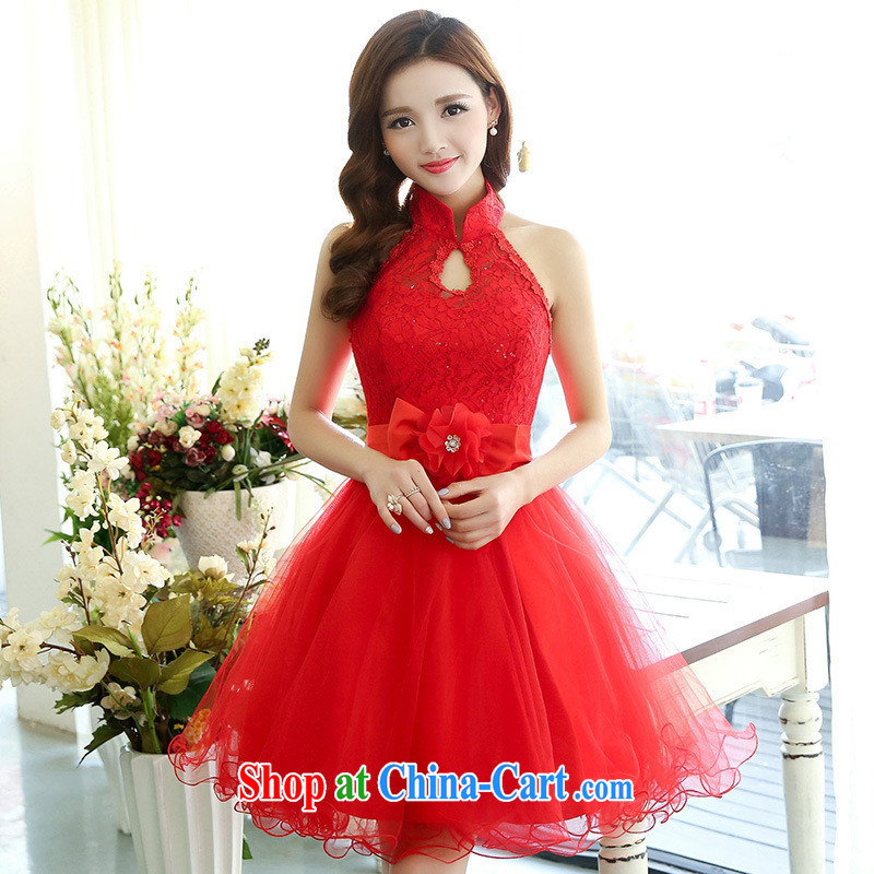 Qin Qing store 2015 new banquet small dress short shaggy dress is also Princess dress bridesmaid dress dress of red MZSH XL 1516