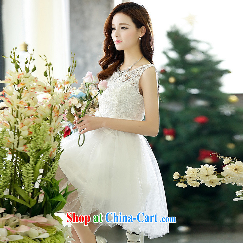 Qin Qing store 2015 new dresses sleeveless style snow woven lace style lady larger bridesmaid dresses small red MZSH XL 1521