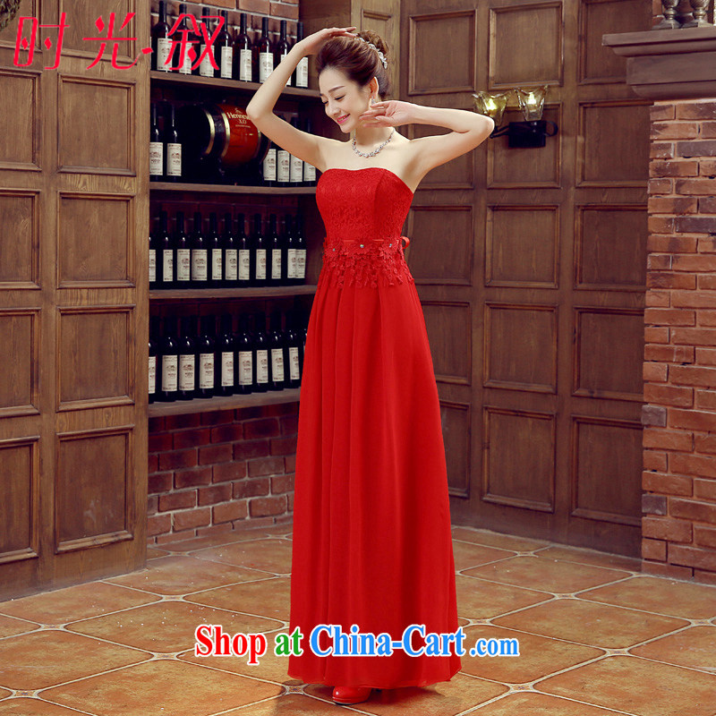 Time his 2015 new erase chest red long fall lace beauty wedding dresses bridal toast clothing dress Spring Summer red XL