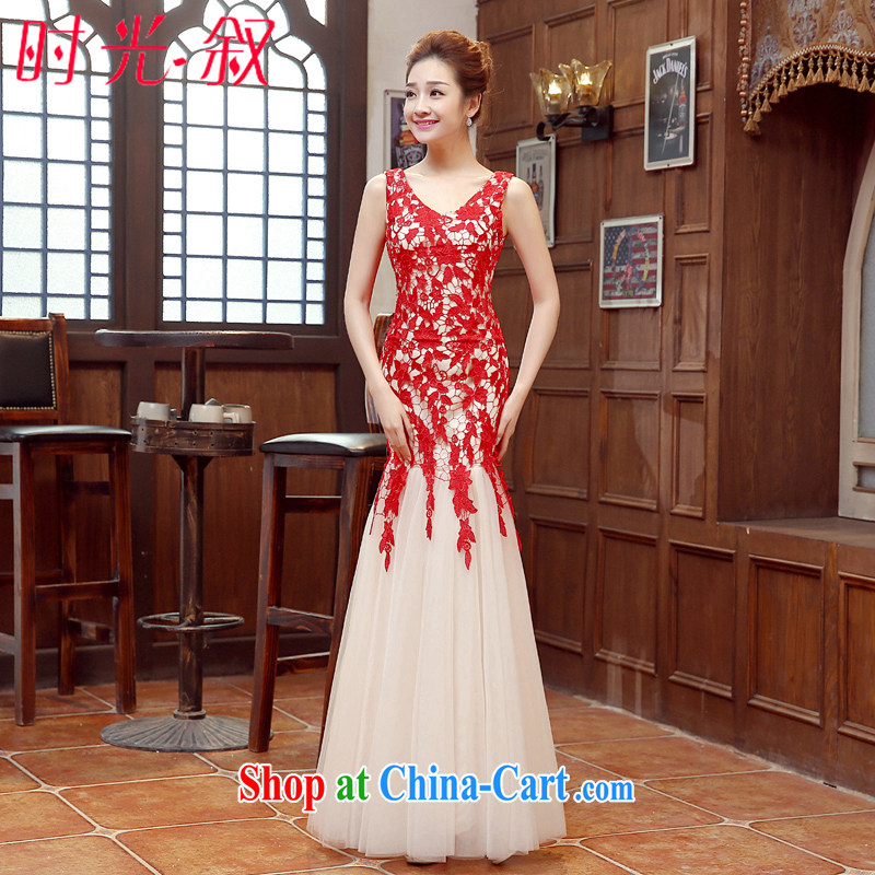 Time his dress 2015 new retro wiped his chest red bridal wedding toast beauty service at Merlion moderator dress car show car models dress female Red XXL